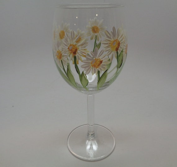 Hand Painted Wine Glass with Yellow and White Daisies