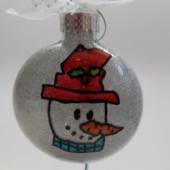 Hand Painted Personalized Snowman Ornament Free Personalization and Free Shipping