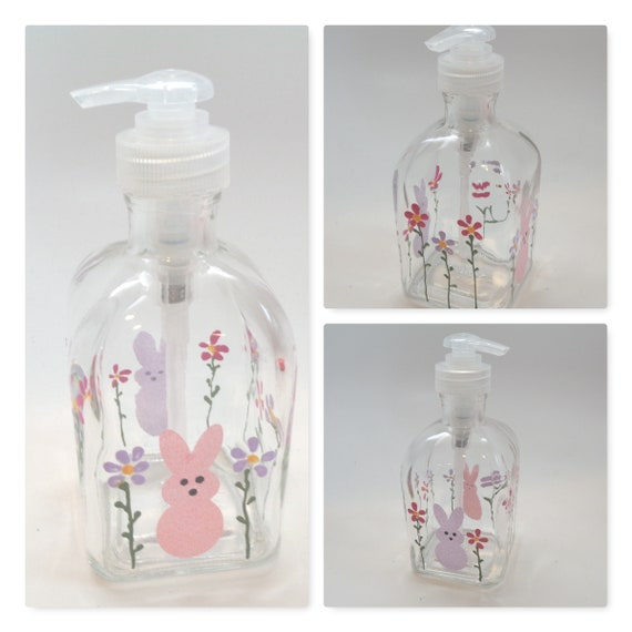 Hand Painted Spring Soap Dispenser for Easter with bunnies and flowers