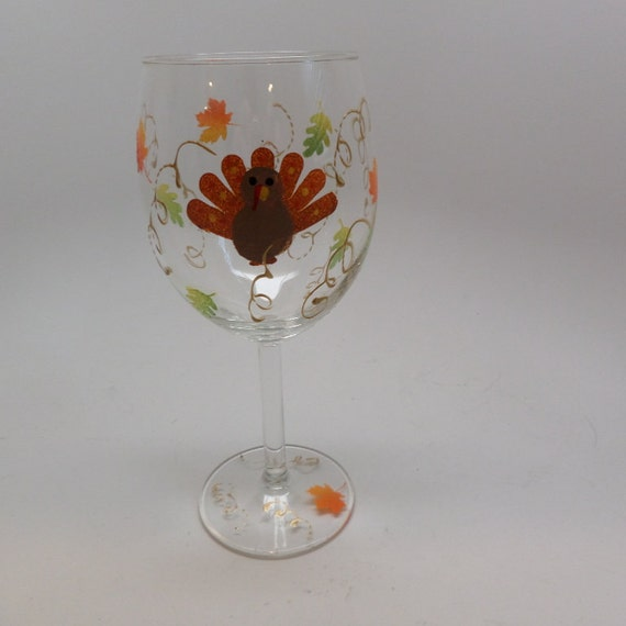 Thanksgiving Turkey Wine Glass Great addition to your fall decor