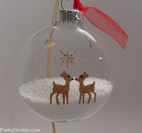 Hand Painted Ornament - Reindeer Love ornament