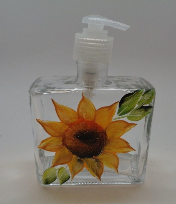 Hand painted Soap/Lotion Dispenser with Sunflower