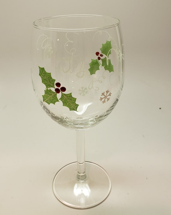 Hand Painted Wine Glass with Bright Holly and Berries two types of glass available