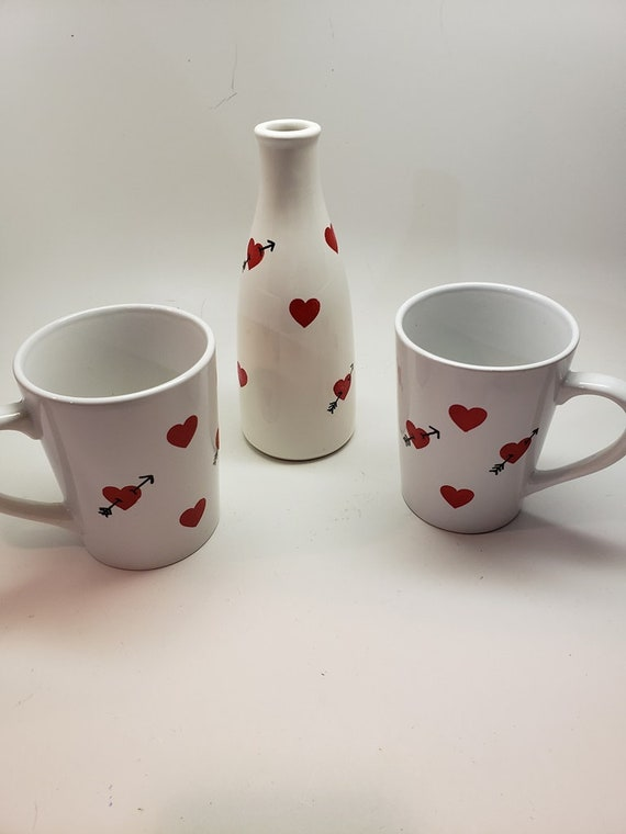 Hand Painted Ceramic Valentines Set with 2 mugs and Bud Vase