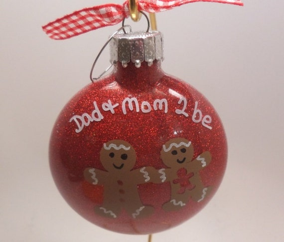 Hand Painted Personalized Ornament -  Gingerbread Christmas Ornament for Mom and Dad to be