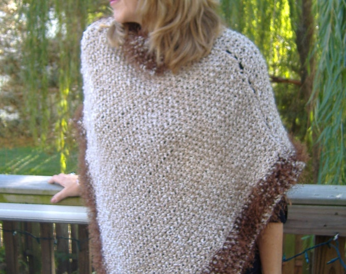 Wheat Poncho with brown trim