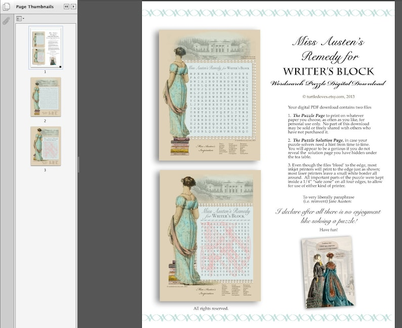 Download - Jane Austen Party Game - Wordsearch Puzzle - Jane Austen Tea  Game, Shower Game - Book Group Game - PDF or JPG
