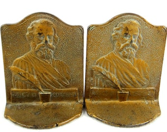 Antique Longfellow Relief Cast Iron Bookends