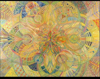 Sacred Geometry Fine Art Print Free Shipping Mandala Sacred Art Print Colored Pencil Art Psychedelic Art