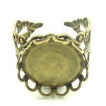 10 Pieces Bronze Ornate Ring Blank Base, Cabochon Ring, 23mm,  Adjustable Ring, Bezel Adjustable Ring Base, Ring Blank