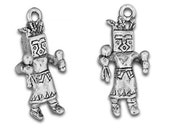1 Pewter Kachina Doll Charm, 25mm, American Made, Sterling Silver Plated, Double Sided, American Indian, Southwest, Hopi