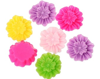 Resin Flower Cabochons, 12mm, 20 Pieces, B120,  MultiColored, 3D Cameo, Cabs, Cameo Cabochon