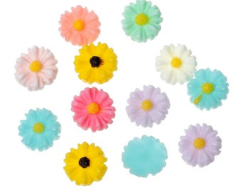Resin Daisy Flower Cabochons, 8mm, 30 Pieces, B766,  MultiColored, 3D Cameo, Cabs, Cameo Cabochon