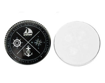 2 Boat Anchor Ship Wheel Compass Glass Dome Cabs, Cabochons Cameos, 20mm,  2 Pieces, B658