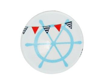 3 Ship's Wheel Boat Flag Glass Domes, 20mm, 3 Pieces, B123, Nautical, Boat Ship Charm