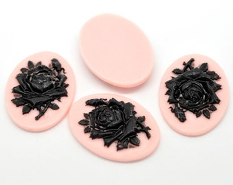Black Rose Resin Flat Back Oval Pink Cameos Cabs, 41mm, 2 Pieces, B875, 3D Cameo, Cabochon, Cameo Cabochon