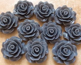 Grey Resin Rose Flower Cabochons, 16mm, 20 Pieces, Gray Rose, 3D Cameo, Cabs, Cameo Cabochon