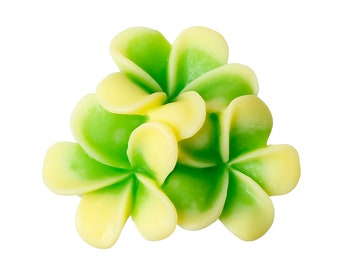 Resin Yellow Green Flower Cabochons, 23mm, 10 Pieces, B844, Bunch of Flowers, 3D Cameo, Cabs, Cameo Cabochon