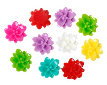 Resin Flower Cabochons, 13mm, 20 Pieces, B118,  MultiColored, 3D Cameo, Cabs, Cameo Cabochon