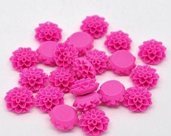 Hot Pink Fuchsia Resin Dahlia Mum Flower Cabochons, 16mm, 20 Pieces, 3D Cameo, Cabs, Cameo Cabochon