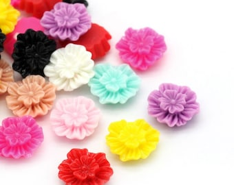 Resin Flower Cabochons, 12mm, 20 Pieces, B261,  MultiColored, 3D Cameo, Cabs, Cameo Cabochon