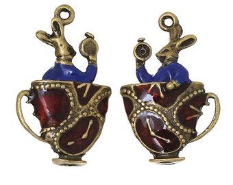 2 Enamel Bronze Rabbit in a Teacup Charms, 30mm, 2 Pieces, Alice in Wonderland