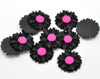 10 Black Daisy Resin Flat Back Cameos Cabs, 27mm, 10 Pieces, B639, 3D Cameo, Cabochon, Cameo Cabochon