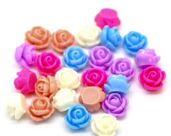 Rose Resin Flower Cabochons, 10mm, 20 Pieces, B812,  Multicolored, 3D Cameo, Cabs, Cameo Cabochon