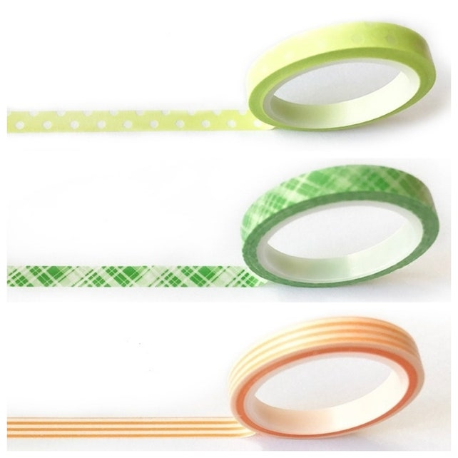 3 Thin Roll Set of Print Washi Tape, 6mm x 5m, Polka Dot, Stripe, Journals, Scrapbooking, Planners, japanese tape, skinny