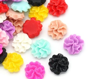 Resin Flower Cabochons, 12mm, 20 Pieces, B260,  MultiColored, 3D Cameo, Cabs, Cameo Cabochon