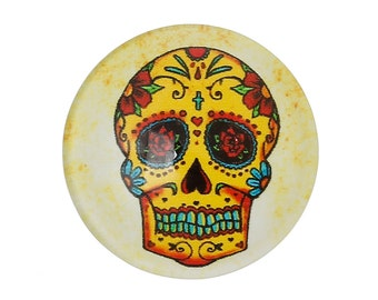 3 Skull Flat Back Glass Dome Round Cabs Cabochons Cameos, 20mm, 3 Pieces, B131, Day of the Dead