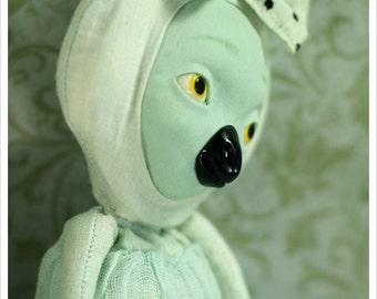 Glow Bird Imaginary Friends- Minty Green Turquoise Black Polka - Art Doll OOAK Fairy Tale Figurative Folk Rag Doll