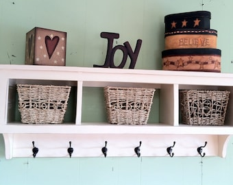 Superieur Cubby Wall Shelf Country Shelf For Baskets Bath Or Entryway W Hooks Wood  Storage Wall Shelf Antiqued   Rustic Coat Rack