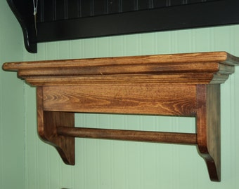 Window Cornice Wall Shelf Solid Pine 24 inches With Towel Bar or Quilt Rod Wall Hanging Display