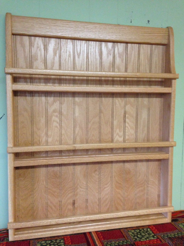 Wall Hanging Plate Rack or Bookshelf Oak Wood