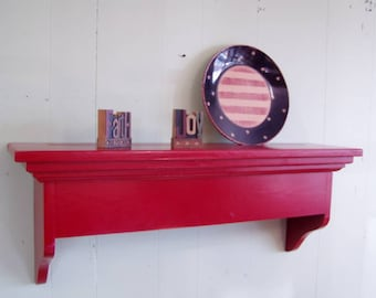 Window Cornice Wall Shelf Solid Pine 24 inches Red