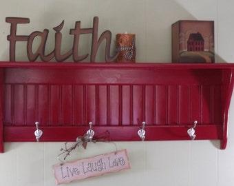 Wood Shelf Country Coat Rack Wall shelf Painted Red
