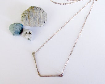 Balance Necklace - Recycled Sterling Silver Chevron Bar Necklace