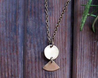 Sunflare Necklace - Circle and Triangle Brass Necklace - Artisan Tangleweeds Jewelry