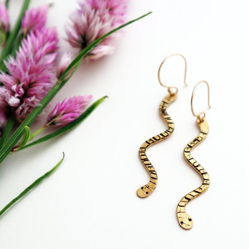 Snakes  Hand Textured Brass Snake Earrings  Nature Inspired image 0