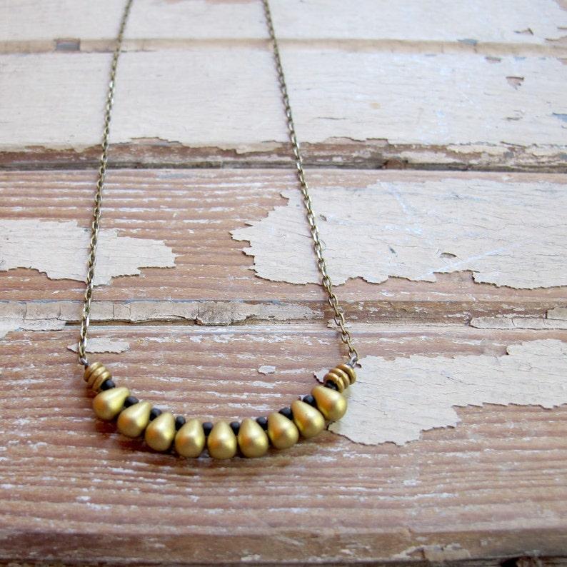 Egyptian  Brass Bronze Copper Bead Necklace  Artisan brass and black