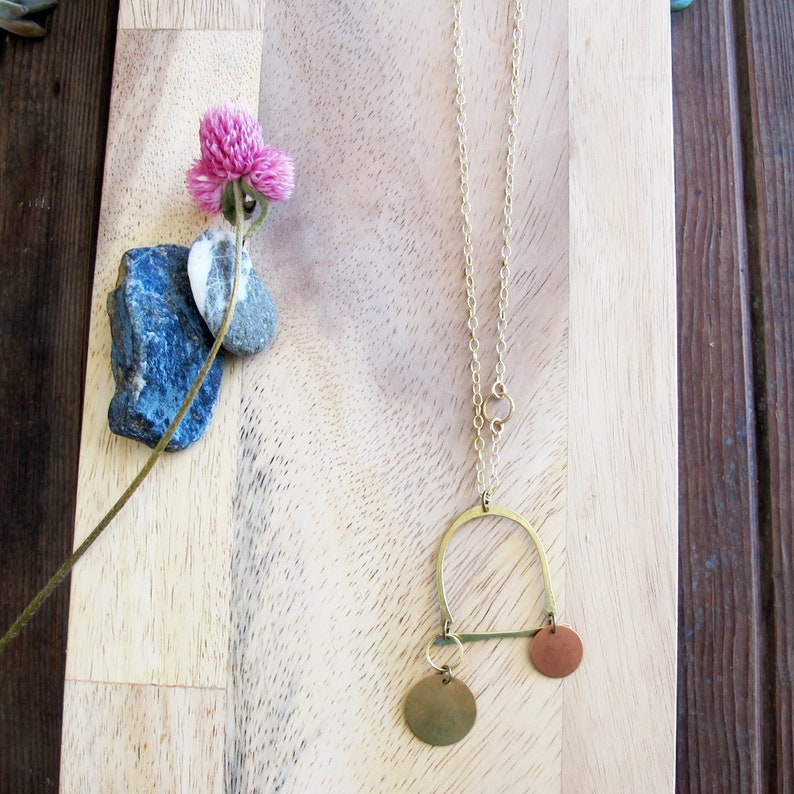 Mountain Circles Necklace  Mixed Metal Jewelry  Copper and image 0