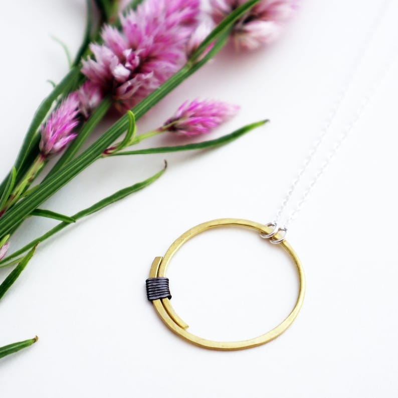 Full Circle Pendant  Large Circle Necklace  Brass and steel image 0