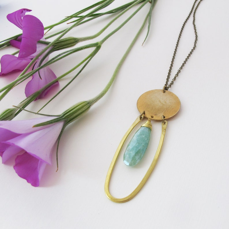 Blades of Grass Necklace  Variscite Stone Necklace  Green image 0