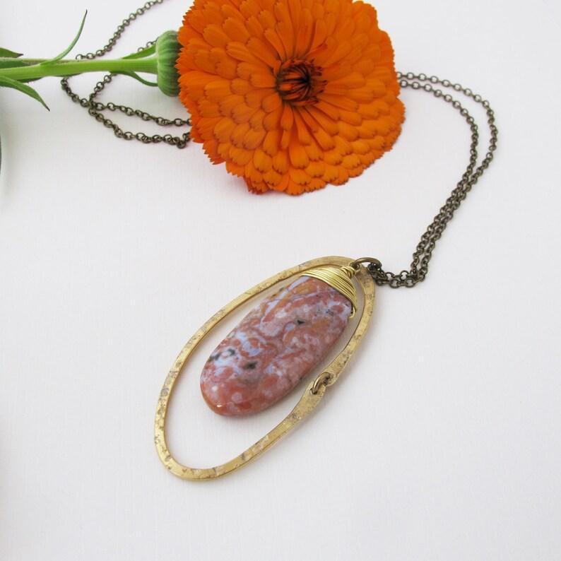 Sepia Oceans  OOAK Swirled Red Ocean Jasper Stone Necklace  image 0