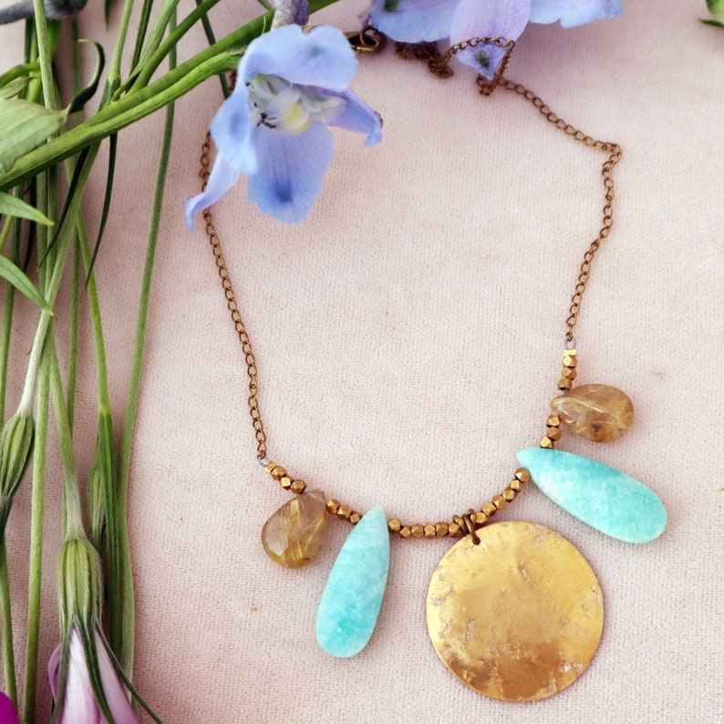 Blue Wings  Amazonite and Rutilated Quartz Necklace  Blue image 0