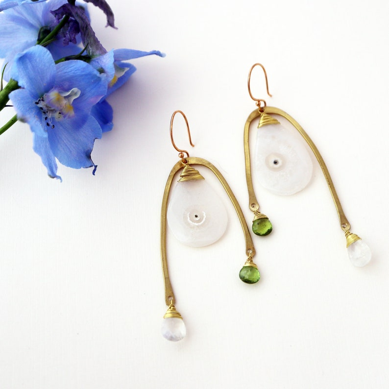 Tunnels Earrings  Moss Mystic Agate Moonstone and Peridot image 0