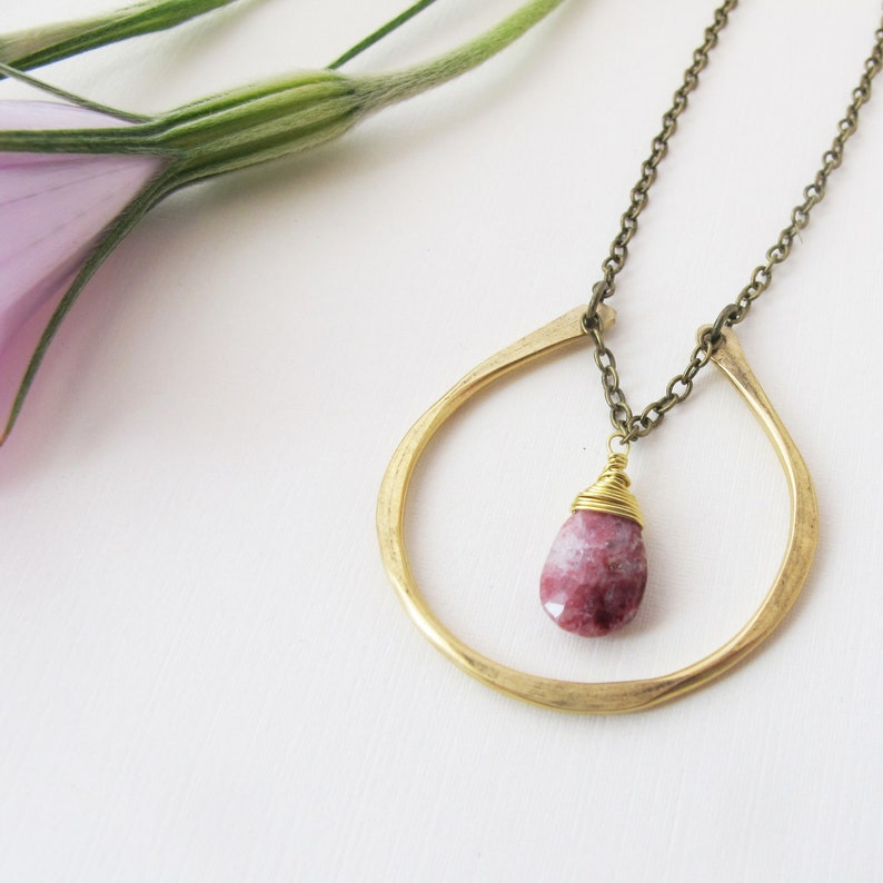 By Chance  Brass Horseshoe Necklace  Pink and White Thulite image 0