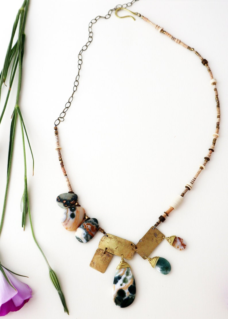 Versatility  One of A Kind Ocean Jasper and Brass Geometric image 0