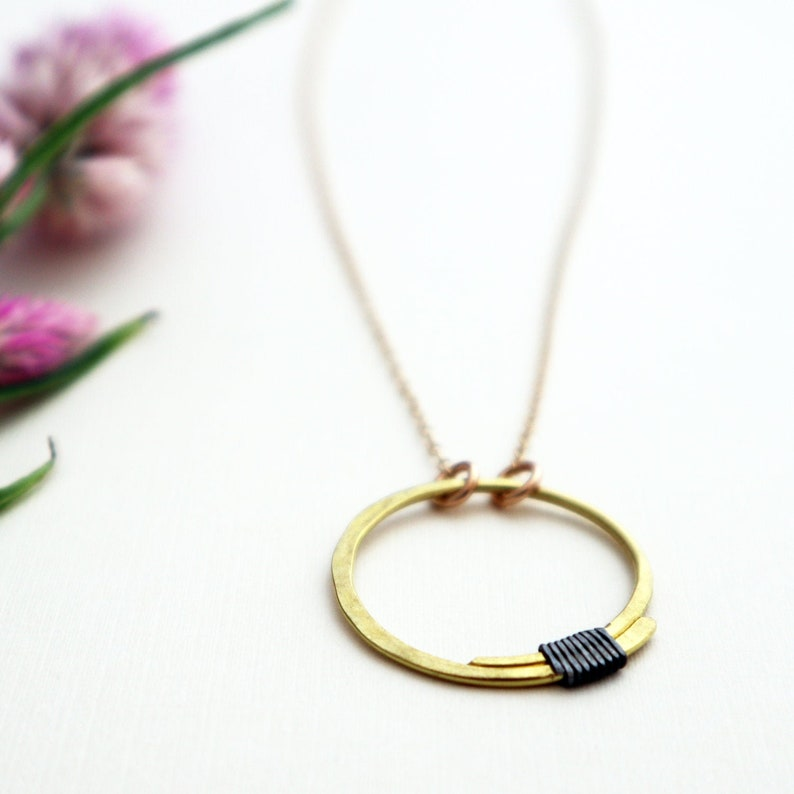 Full Circle Pendant  Medium Circle Necklace  Brass and steel image 0